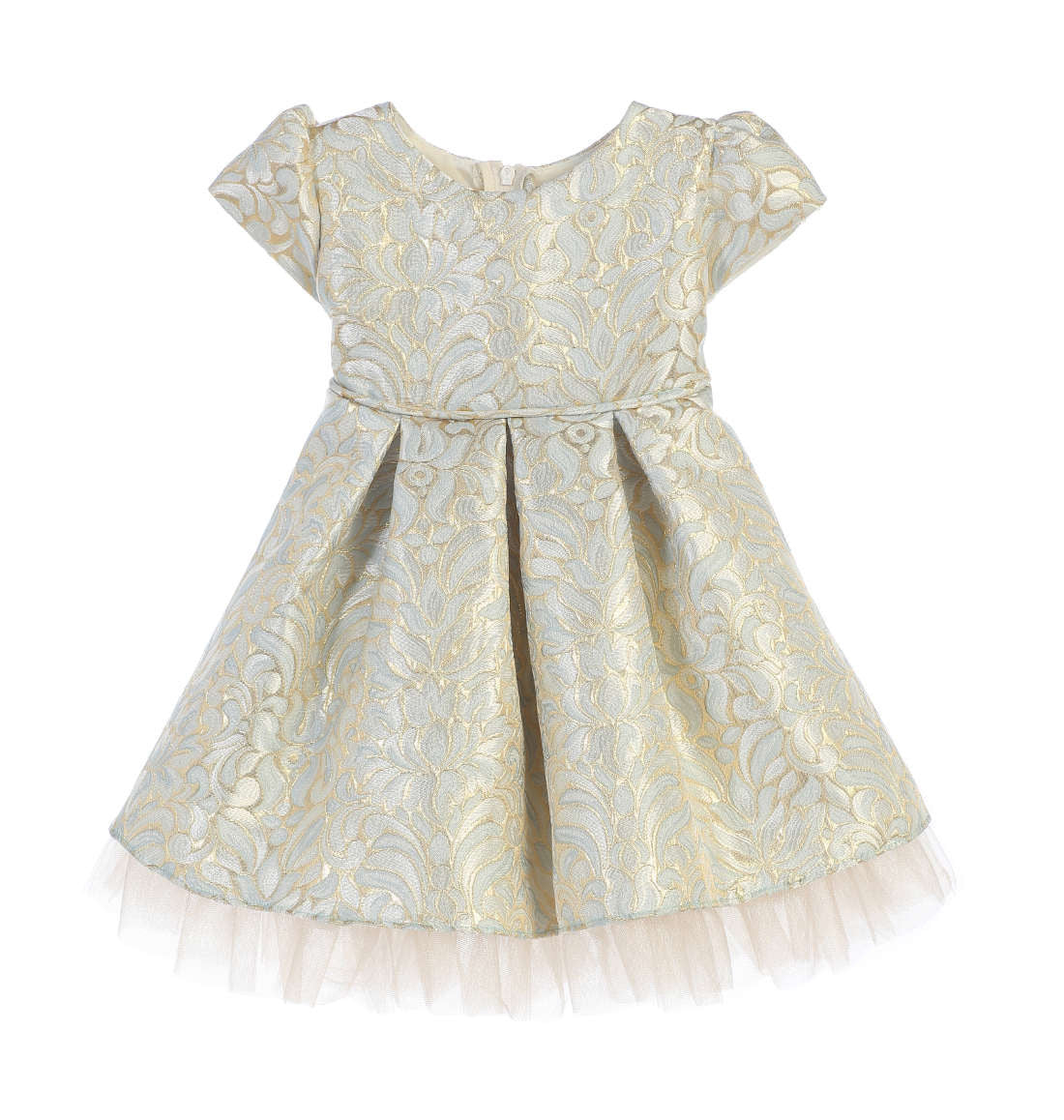 Sweet Kids Ornate Pleated Jacquard Tulle Dress - Blue, SK670