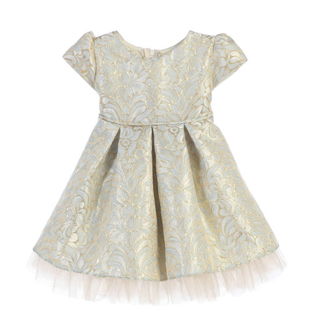 Sweet Kids Baby Girls' Ornate Pleated Jacquard Tulle Dress - Blue, SKB670