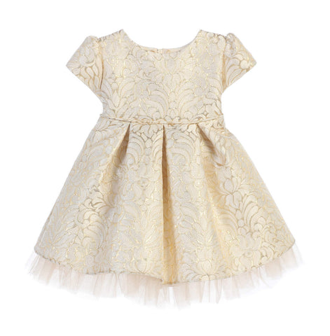 Sweet Kids Baby Girls' Ornate Pleated Jacquard Tulle Dress - Ivory, SKB670