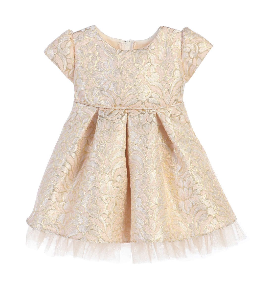 Sweet Kids Ornate Pleated Jacquard Tulle Dress - Blush, SK670