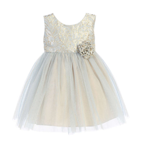 Sweet Kids Baby Girls' Ornate Jacquard Multi Tone Tulle Dress - Blue, SKB671