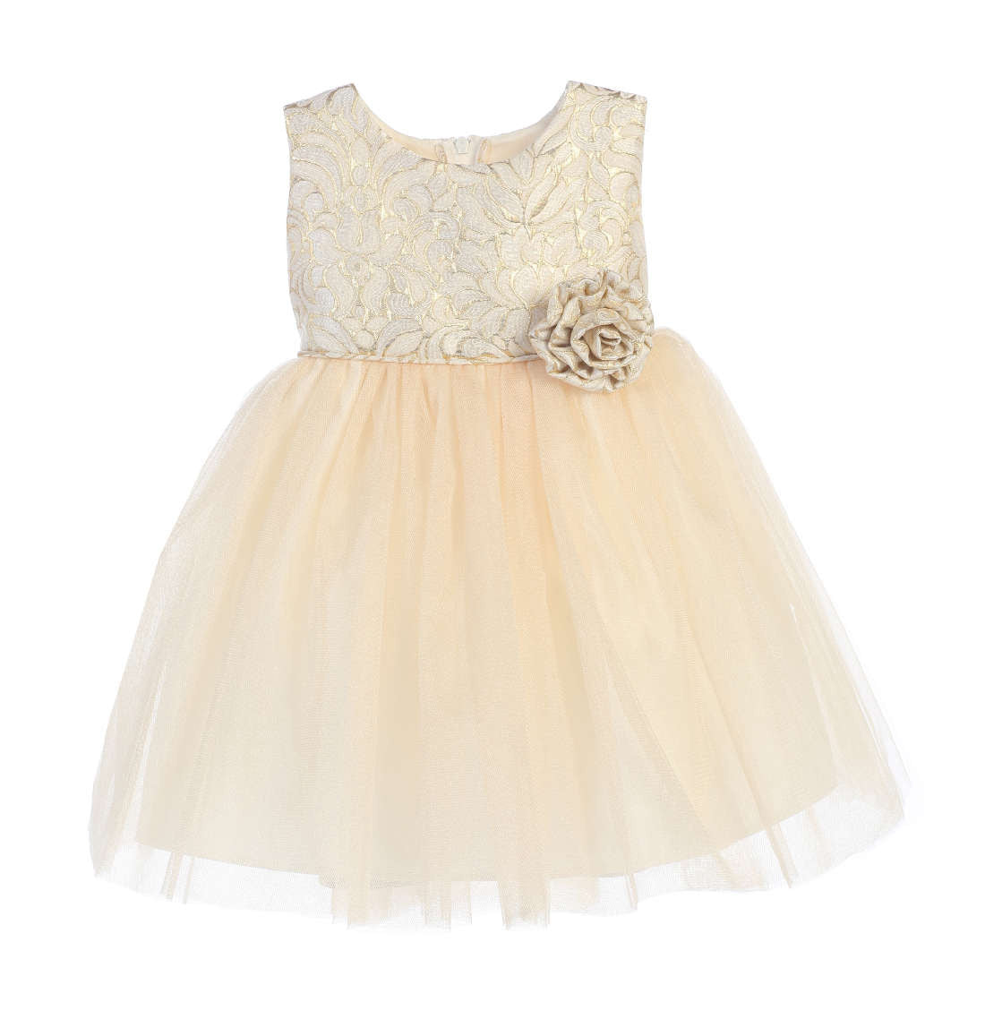 Sweet Kids Ornate Jacquard Multi Tone Tulle Dress - Ivory, SK671