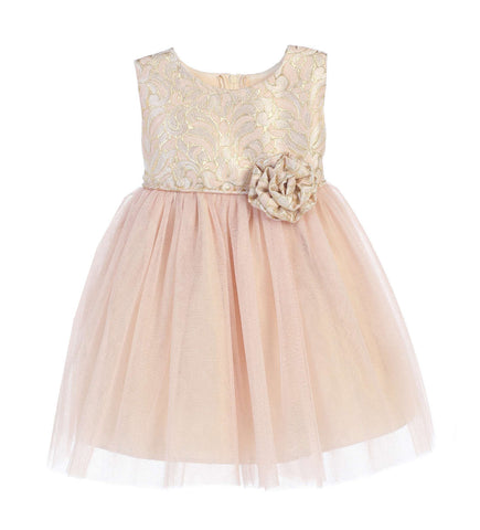 Sweet Kids Baby Girls' Ornate Jacquard Multi Tone Tulle Dress - Blush, SKB671
