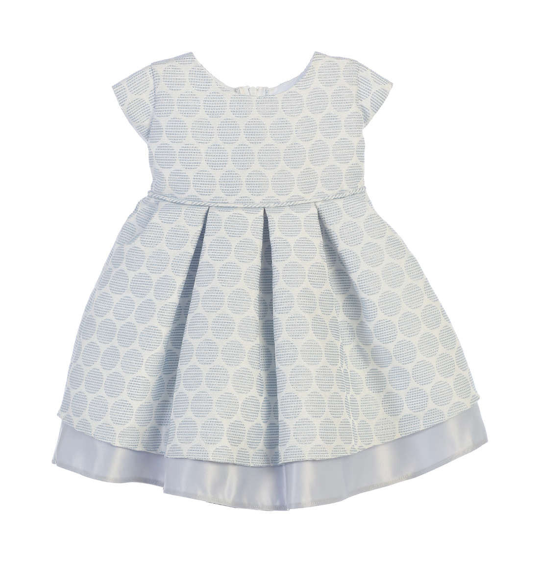 ce6d6985f0708 Sweet Kids Baby Girls' Polka Dot Pleated Jacquard Satin Dress - Blue, |  Children's Clothing | Young Timers Boutique