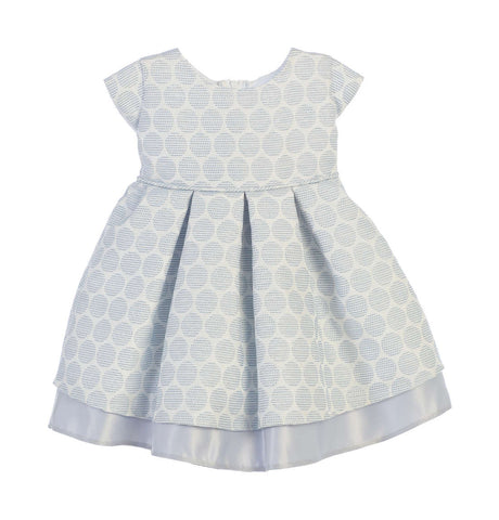 Sweet Kids Baby Girls' Polka Dot Pleated Jacquard Satin Dress - Blue, SKB673