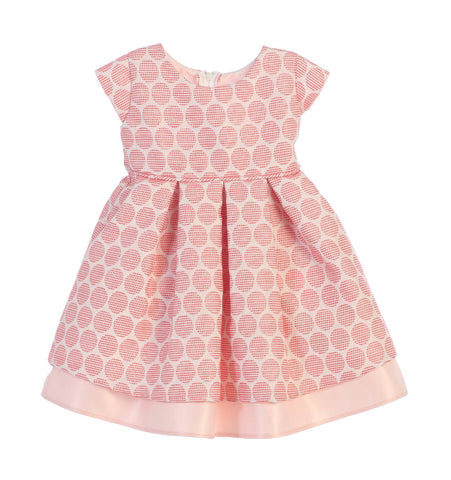 Sweet Kids Baby Girls' Polka Dot Pleated Jacquard Satin Dress - Coral, SKB673