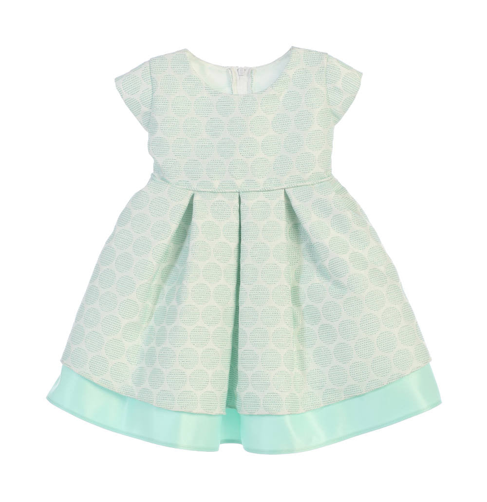 Sweet Kids Polka Dot Pleated Jacquard Satin Dress - Mint, SK673