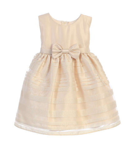 Sweet Kids Baby Girls' Satin and Striped Organza Skirt Dress - Champagne, SKB677