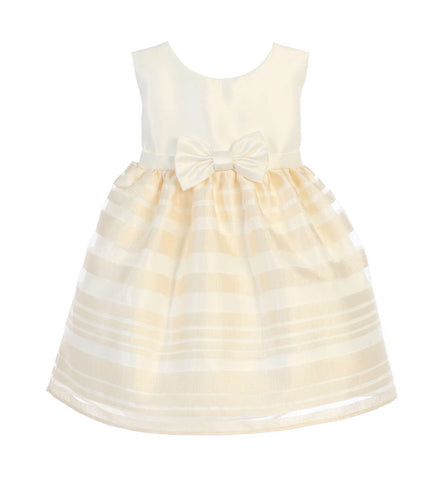 Sweet Kids Baby Girls' Satin and Striped Organza Skirt Dress - Ivory, SKB677