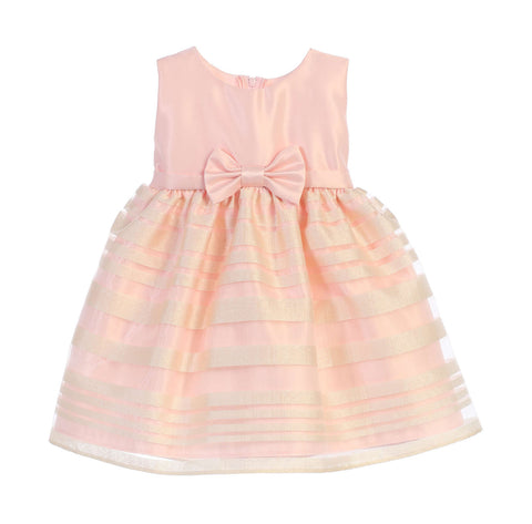 Sweet Kids Baby Girls' Satin and Striped Organza Skirt Dress - Petal Pink, SKB677