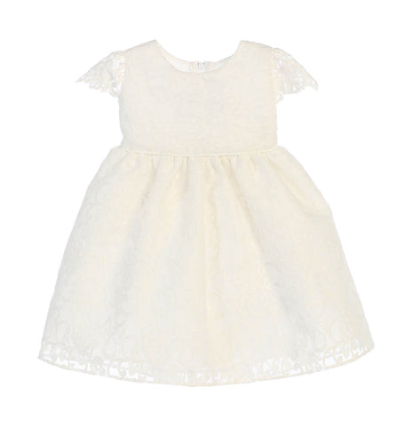 Sweet Kids Baby Girls' Classic Floral Embroidered Organza Dress - Off White, SKB688