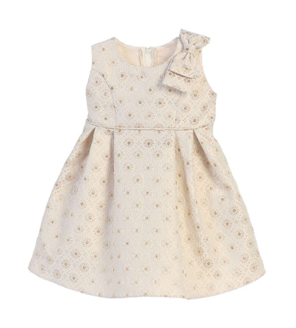 Sweet Kids Baby Girls' Circle Floral Stamp Jacquard - Champagne, SKB694