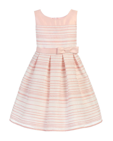 SWEET KIDS STRIPED WOVEN AND SATIN LIGHT PINK FLOWER GIRL DRESS- SK638 - Young Timers Boutique  - 1