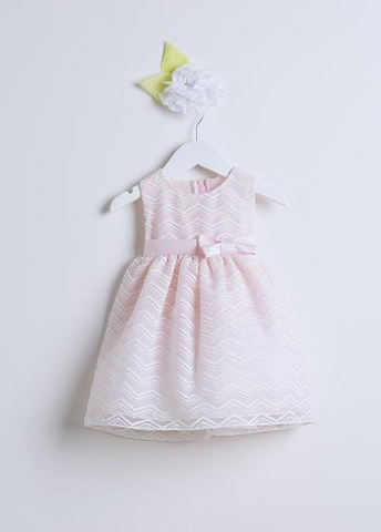 Sweet Kids Pink Chevron Organza Flower Girls Dress - SK561 - Young Timers Boutique