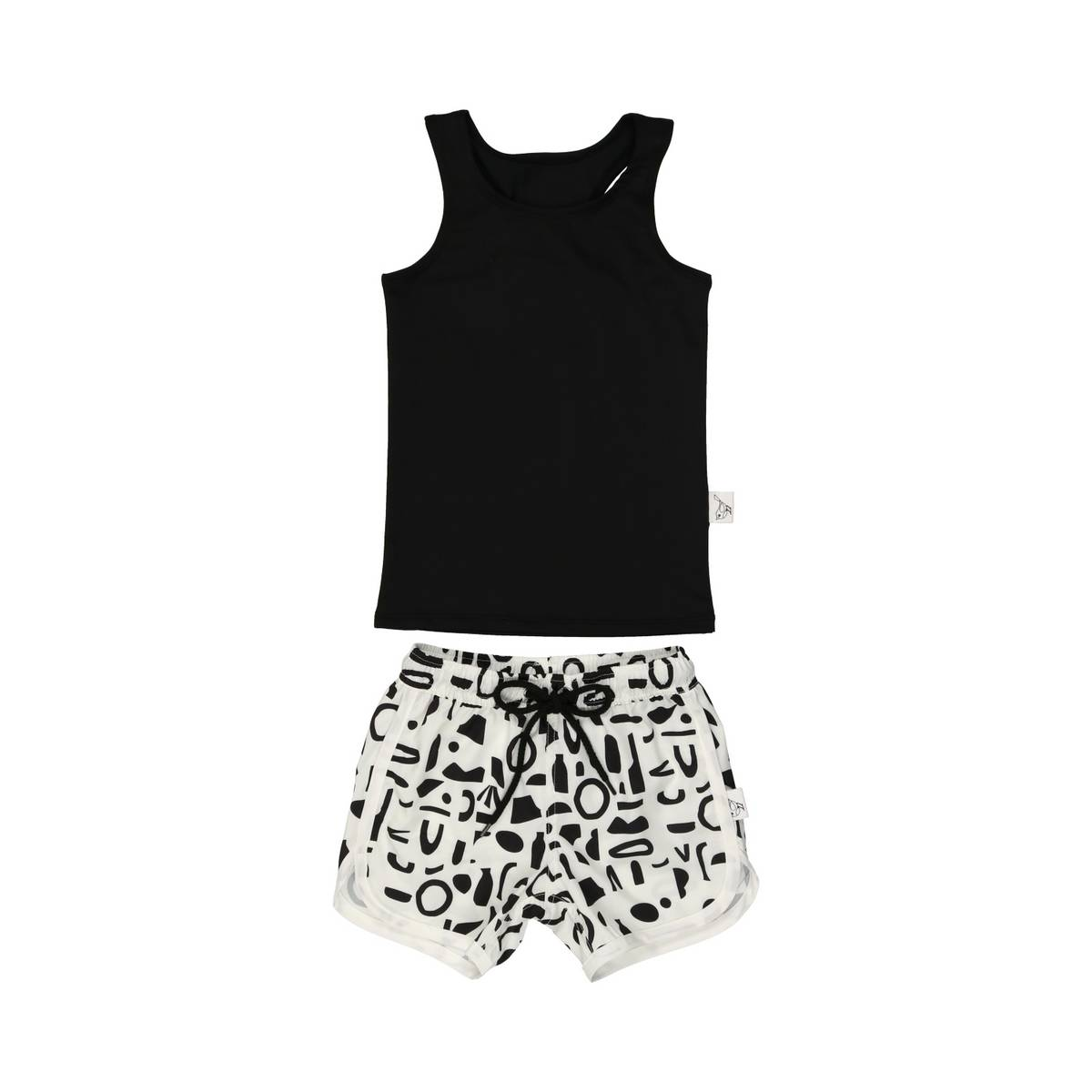 Sparrow White Abstract Boys Bathing Suit