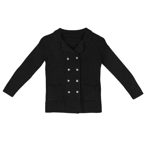Sweet Threads Black Double Breasted Knit Blazer