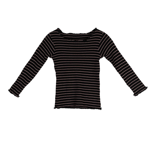 Sweet Threads Girls Black Striped Sweater
