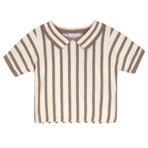 Sweet Threads Taupe Striped Lauren Top