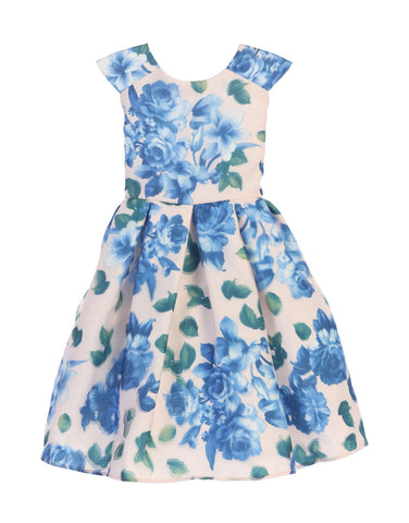Sweet Kids 3D Floral Print Dress - Blue Floral, SK676