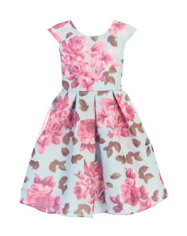 Sweet Kids 3D Floral Print Dress - Fuchsia Floral, SK676