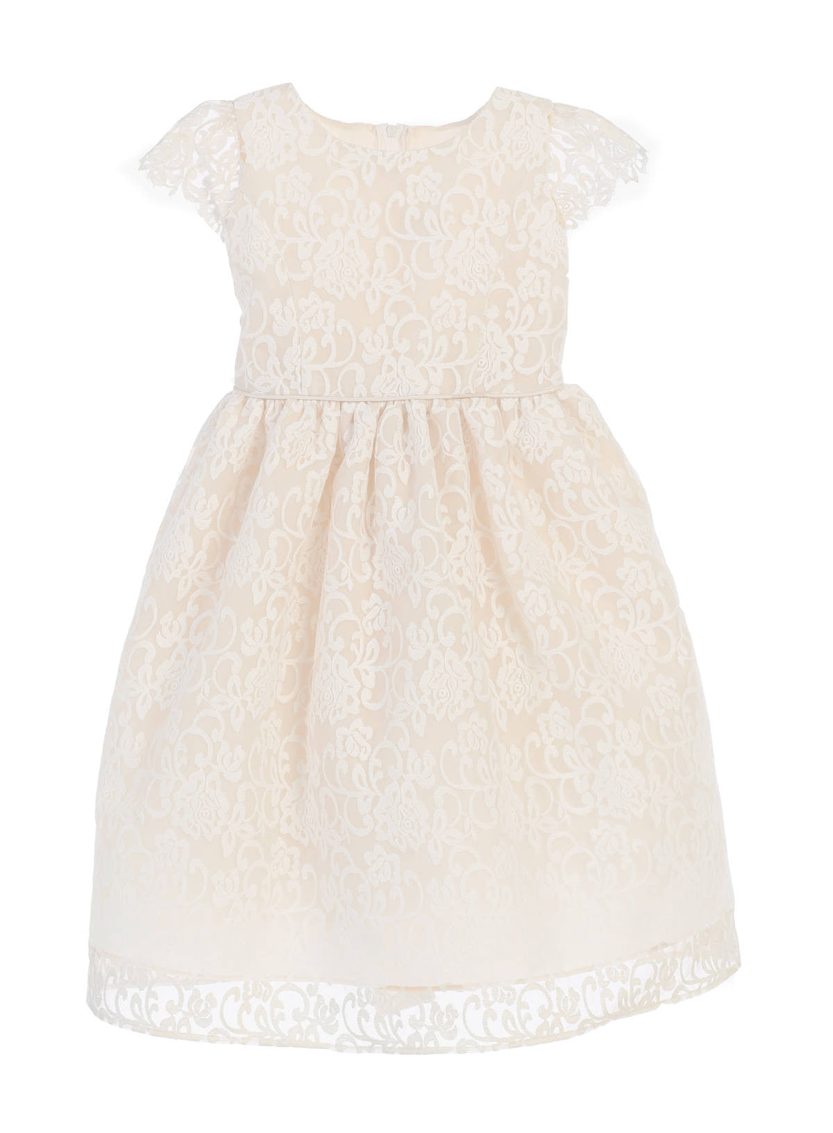 Sweet Kids Classic Floral Embroidered Organza Dress - Champagne, SK688