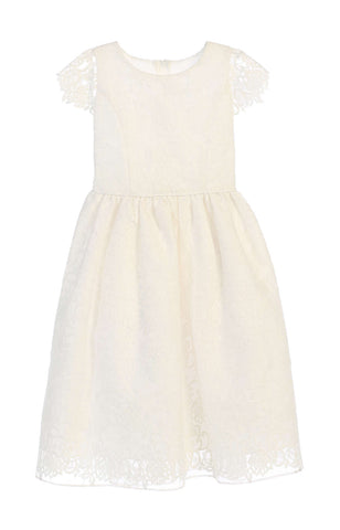 Sweet Kids Classic Floral Embroidered Organza Dress - Off White, SK688