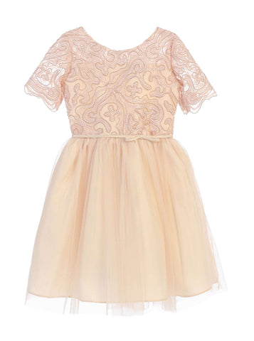 Sweet Kids Cord Embroidered Mesh Cocktail Dress - Champagne, SK693