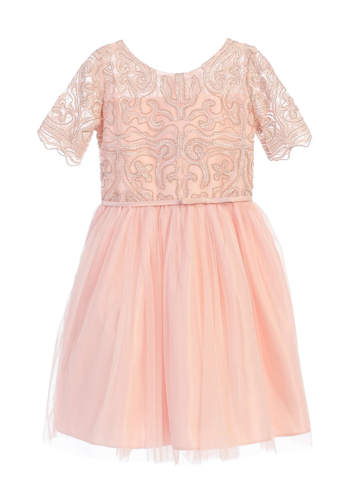 Sweet Kids Cord Embroidered Mesh Cocktail Dress - Petal Pink, SK693
