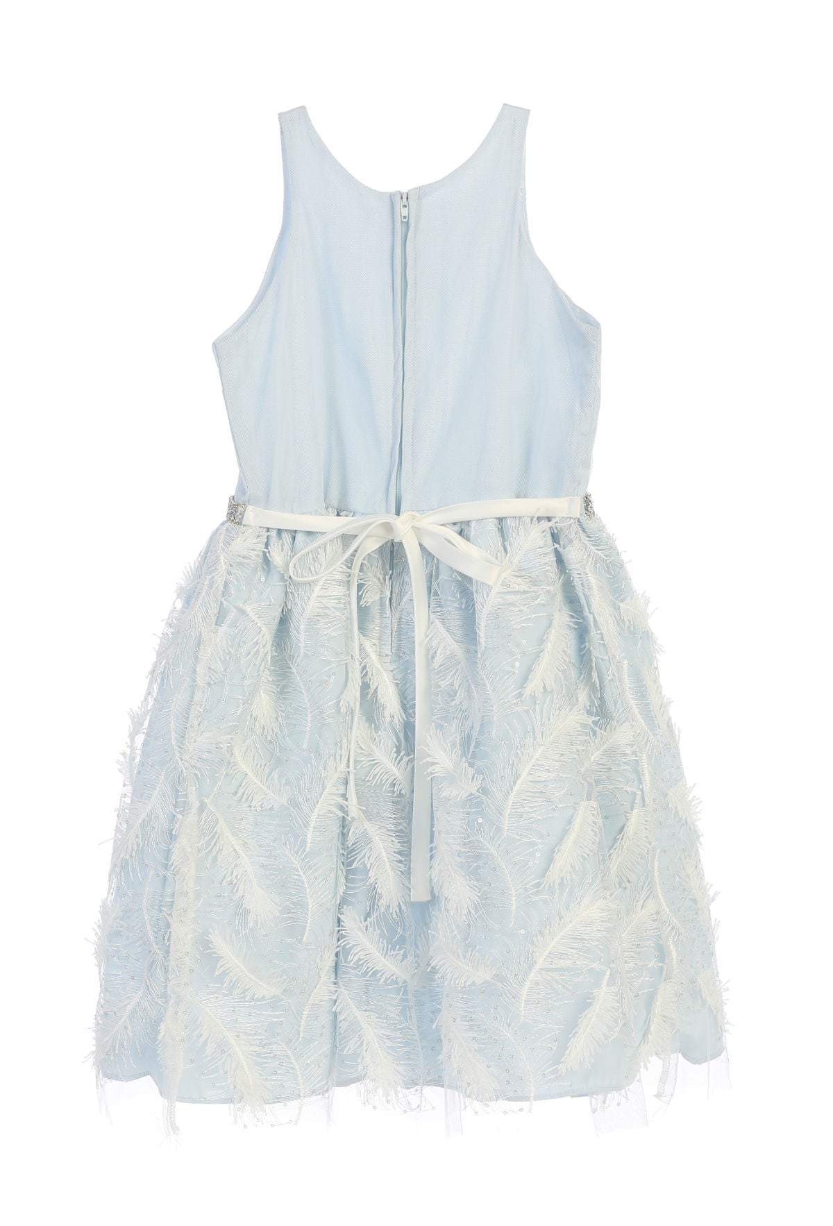 Sweet kids feather patch mesh cocktail dress blue sk691 children
