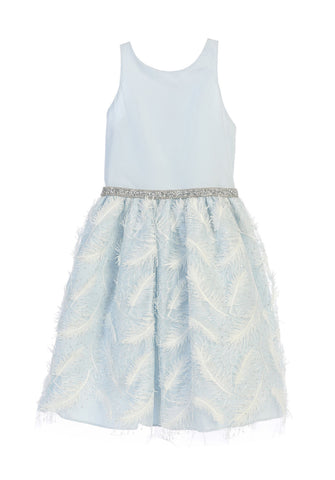 Sweet Kids Feather Patch Mesh Cocktail Dress - Blue, SK691