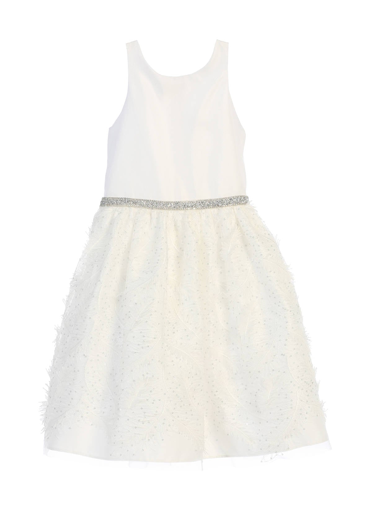 Sweet Kids Feather Patch Mesh Cocktail Dress - Off White, SK691