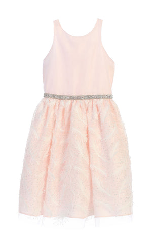 Sweet Kids Feather Patch Mesh Cocktail Dress - Pink, SK691