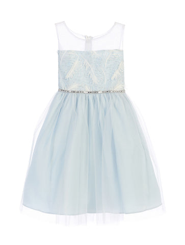 Sweet Kids Feather Patch Top and Mesh Skirt Dress - Blue, SK699