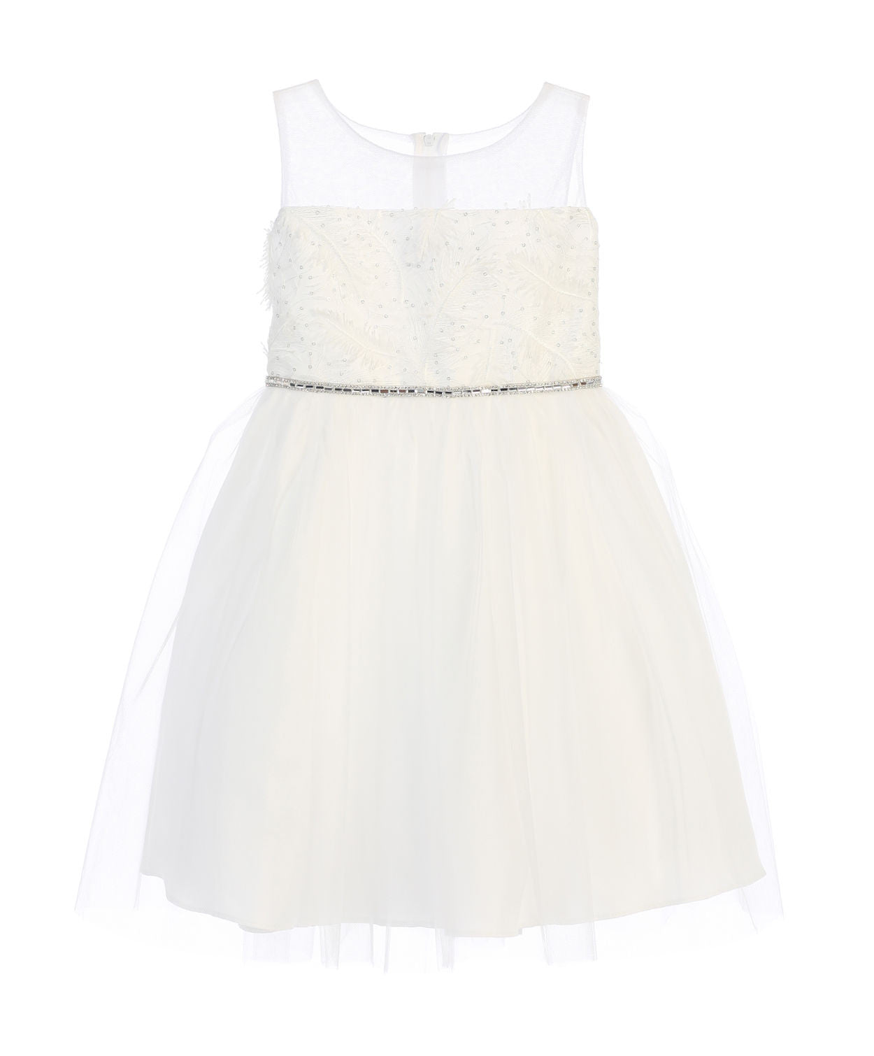 Sweet Kids Feather Patch Top and Mesh Skirt Dress - Off White, SK699