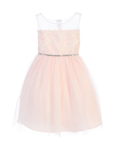 Sweet Kids Feather Patch Top and Mesh Skirt Dress - Pink, SK699