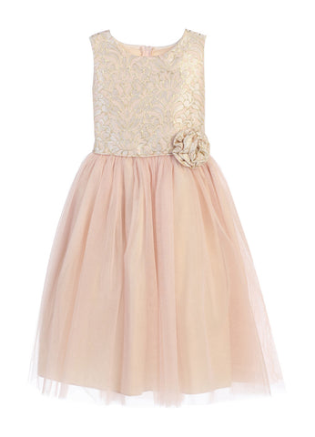 Sweet Kids Ornate Jacquard Multi Tone Tulle Dress - Blush, SK671