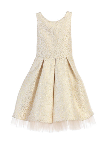 Sweet Kids Ornate Pleated Jacquard Tulle Dress - Ivory, SK670