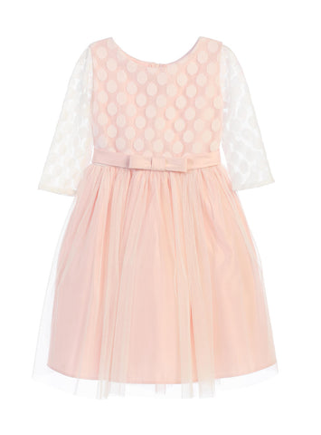 Sweet Kids Polka Dot Mesh Satin Dress - Blush, SK680