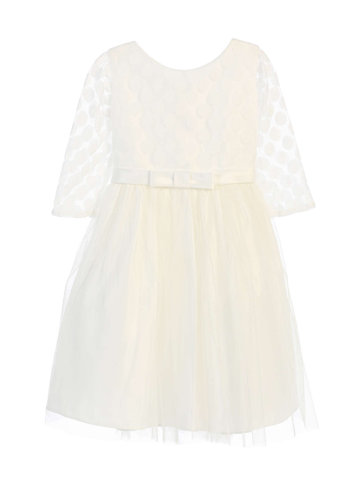 Sweet Kids Polka Dot Mesh Satin Dress - Off White, SK680