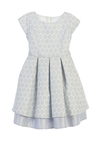 Sweet Kids Polka Dot Pleated Jacquard Satin Dress - Blue, SK673