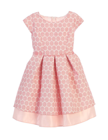 Sweet Kids Polka Dot Pleated Jacquard Satin Dress - Coral, SK673