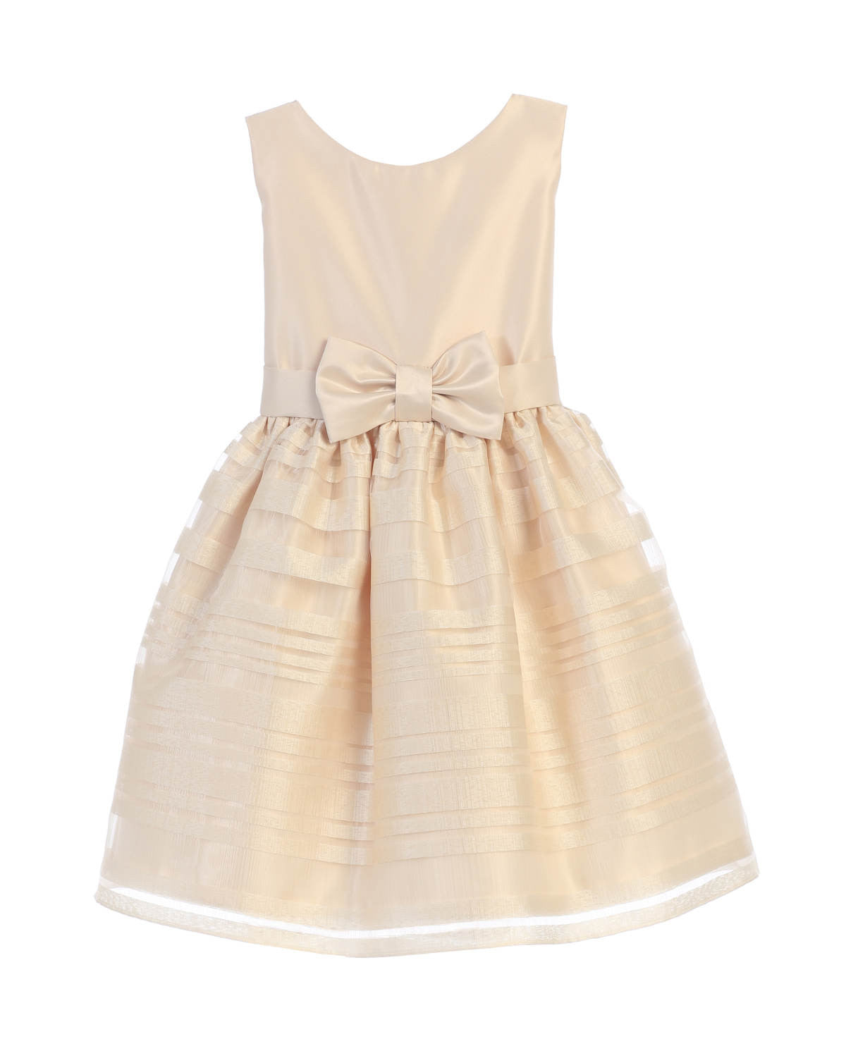 Sweet Kids Satin and Striped Organza Skirt Dress - Champagne, SK677