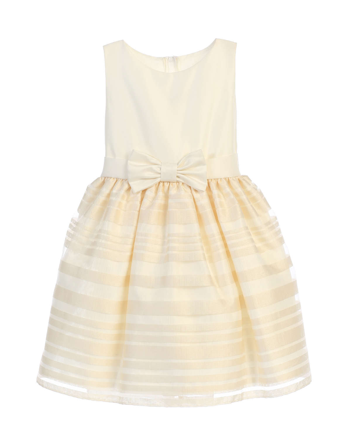 Sweet Kids Satin and Striped Organza Skirt Dress - Ivory, SK677