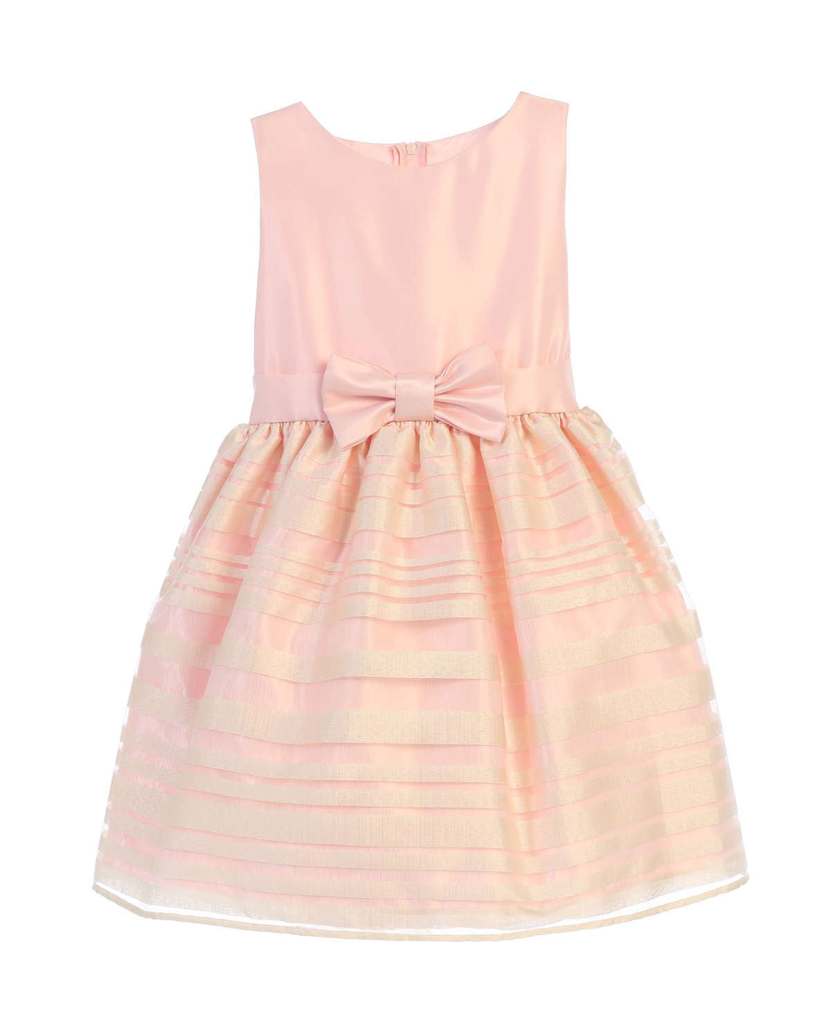 Sweet kids satin and striped organza skirt dress petal pink sk677