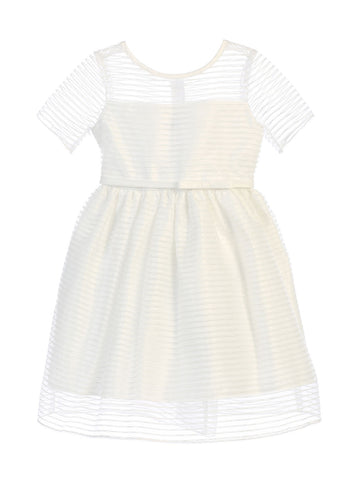 Sweet Kids Striped Metallic Organza Dress - Off White, SK674