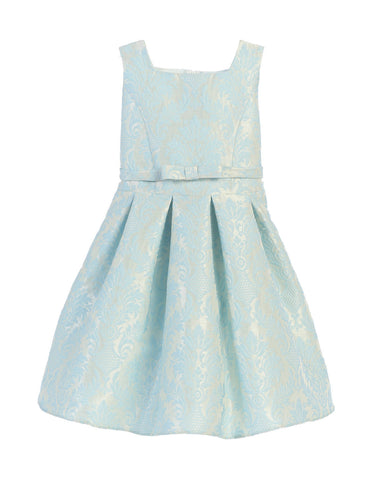 Sweet Kids Vintage Baroque Pleated Jacquard Dress - Blue, SK701