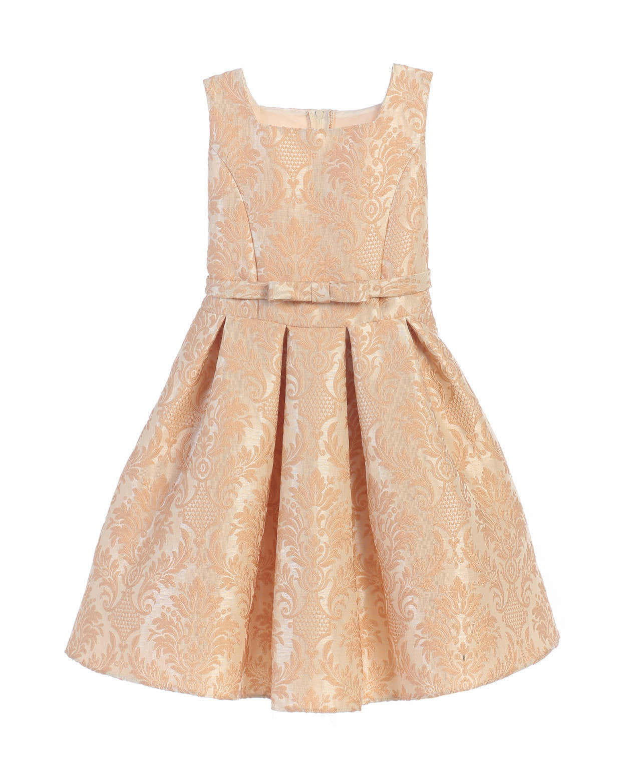 Sweet Kids Vintage Baroque Pleated Jacquard Dress - Champagne, SK701