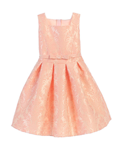 Sweet Kids Vintage Baroque Pleated Jacquard Dress - Petal Pink, SK701