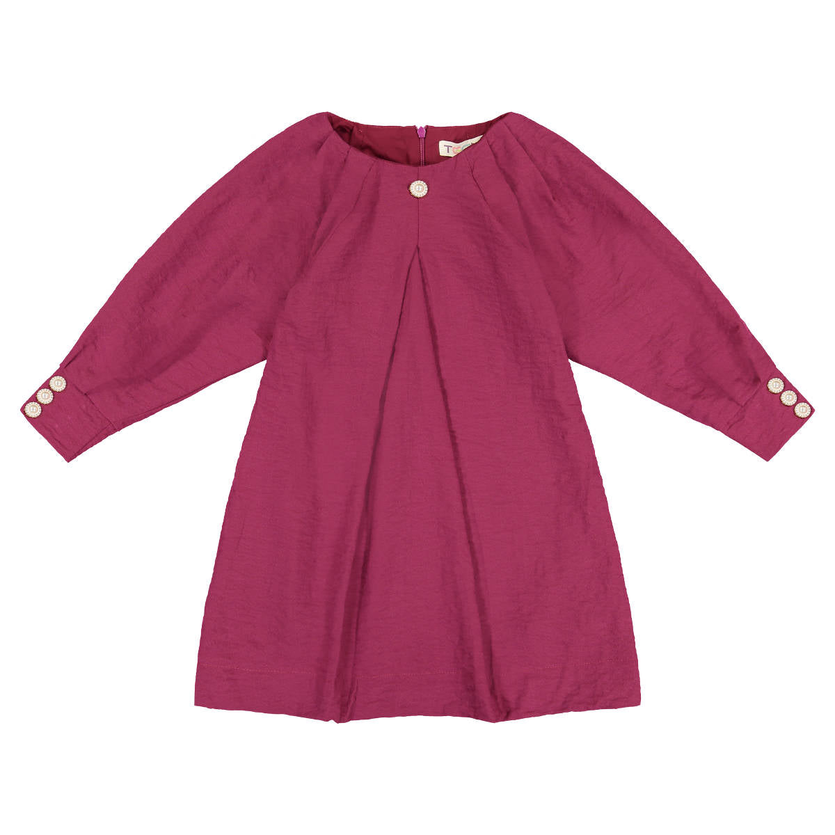 Teela Cranberry Dolman Pleated Sleeve Dress