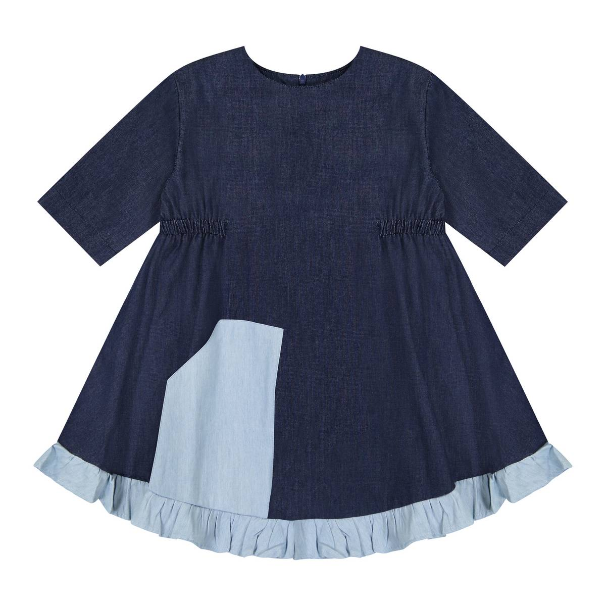 Teela Dark Denim Swing Kangaroo Pocket Dress